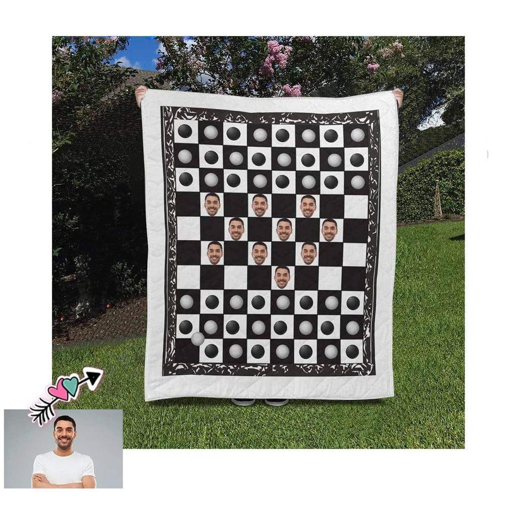 Custom Photo Chess Black and White Quilt