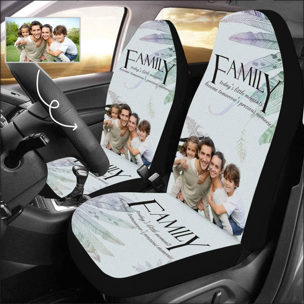 Custom Photo Family Leafs Car Seat Covers (Set of 2)