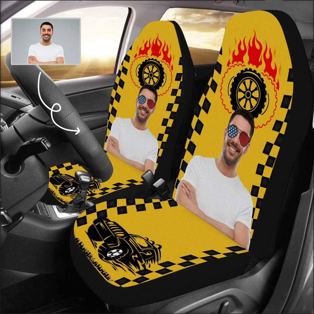 Custom Photo Fire Wheel Yellow Car Seat Covers (Set of 2)