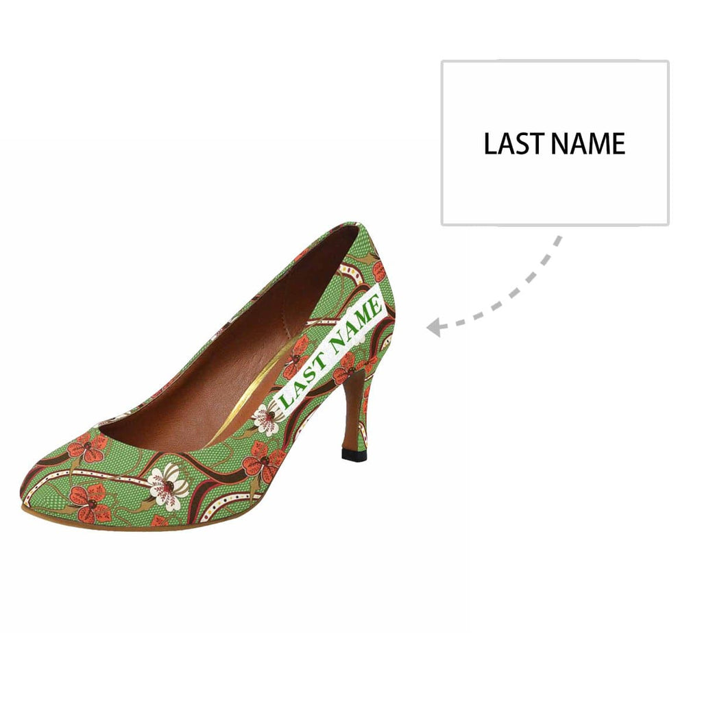 Custom Name Flower Emerald Women's Pumps