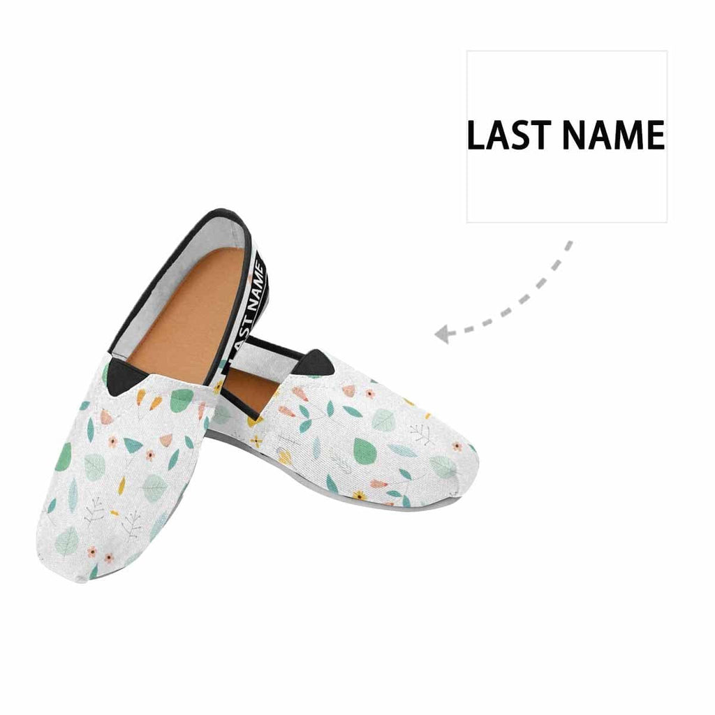 Custom Name Leaves Casual Canvas Women's Shoes