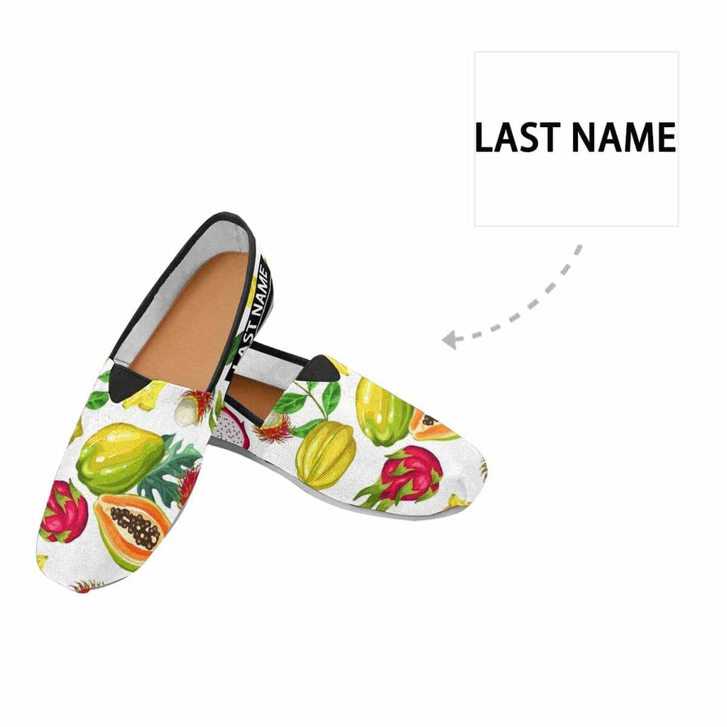 Custom Name Various Fruit Casual Canvas Women's Shoes
