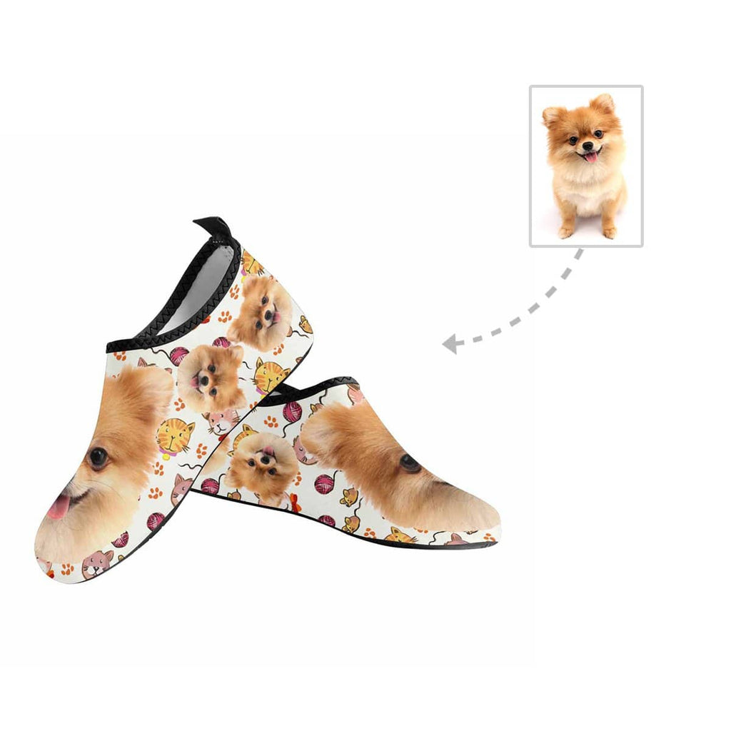 Custom Pet Face Kitty Kid's Barefoot Aqua Shoes
