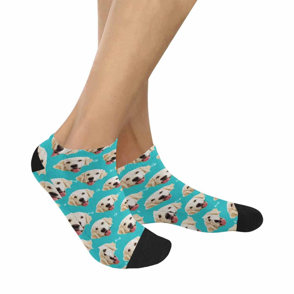 Custom Pet Face Blue Women's Ankle Socks