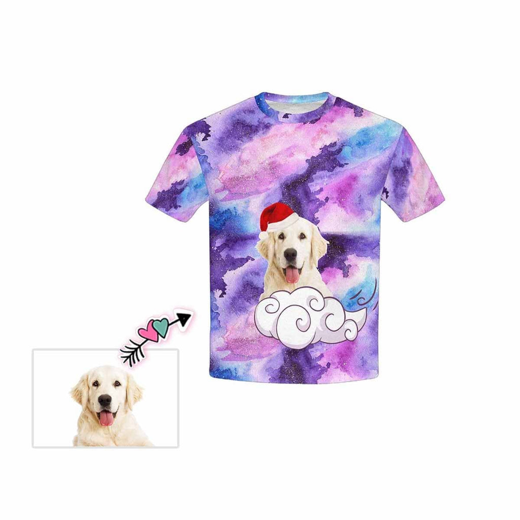Custom Pet Face Colorful Painting Kid's All Over Print T-shirt