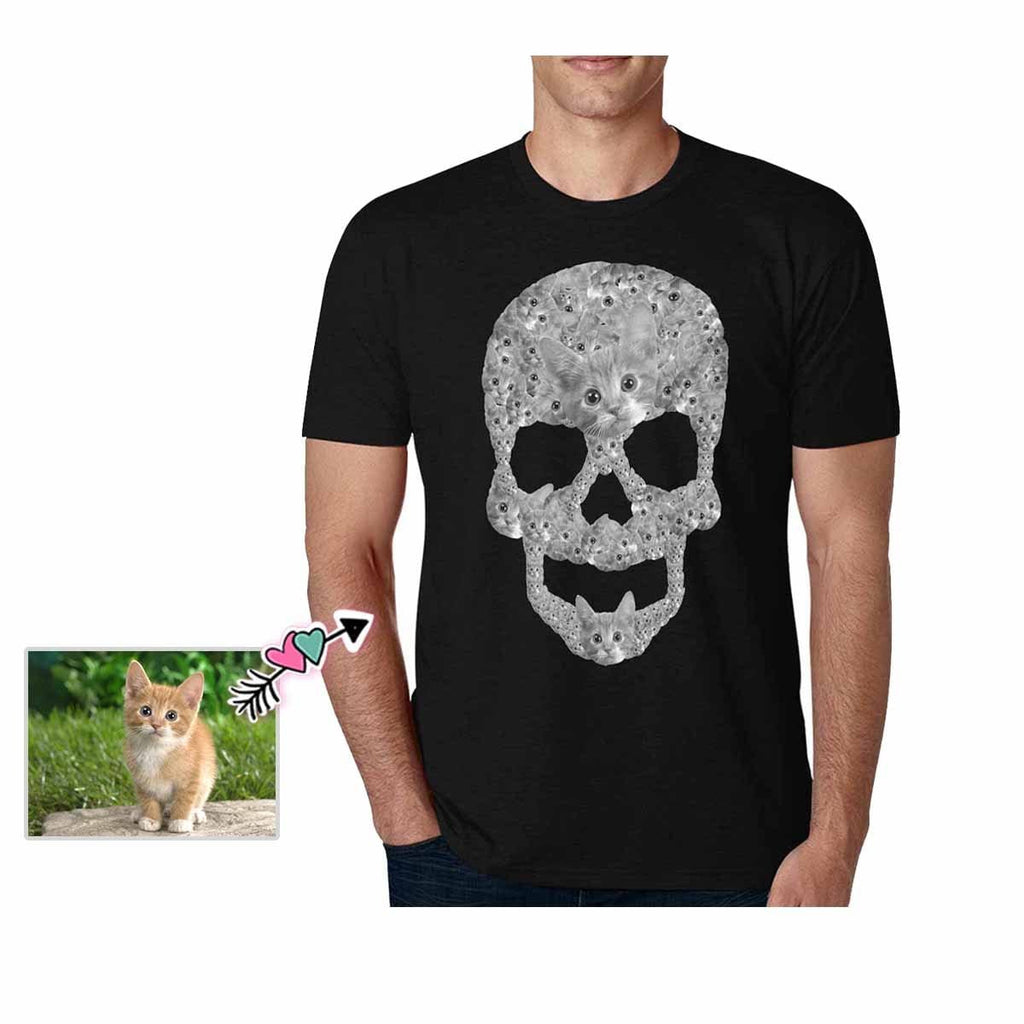 Custom Pet Face Skull Shape Men's All Over Print T-shirt
