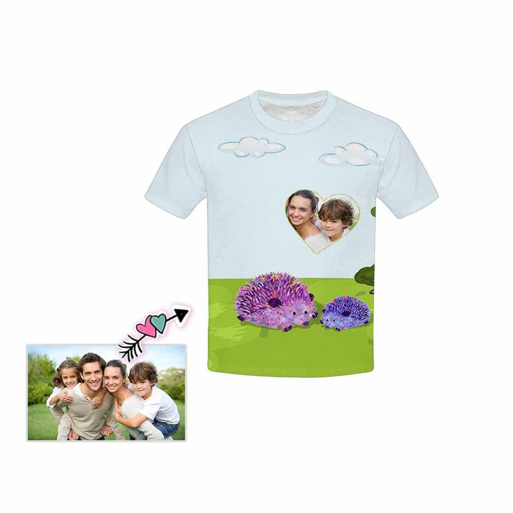 Custom Photo Hedgehog Kid's All Over Print T-shirt