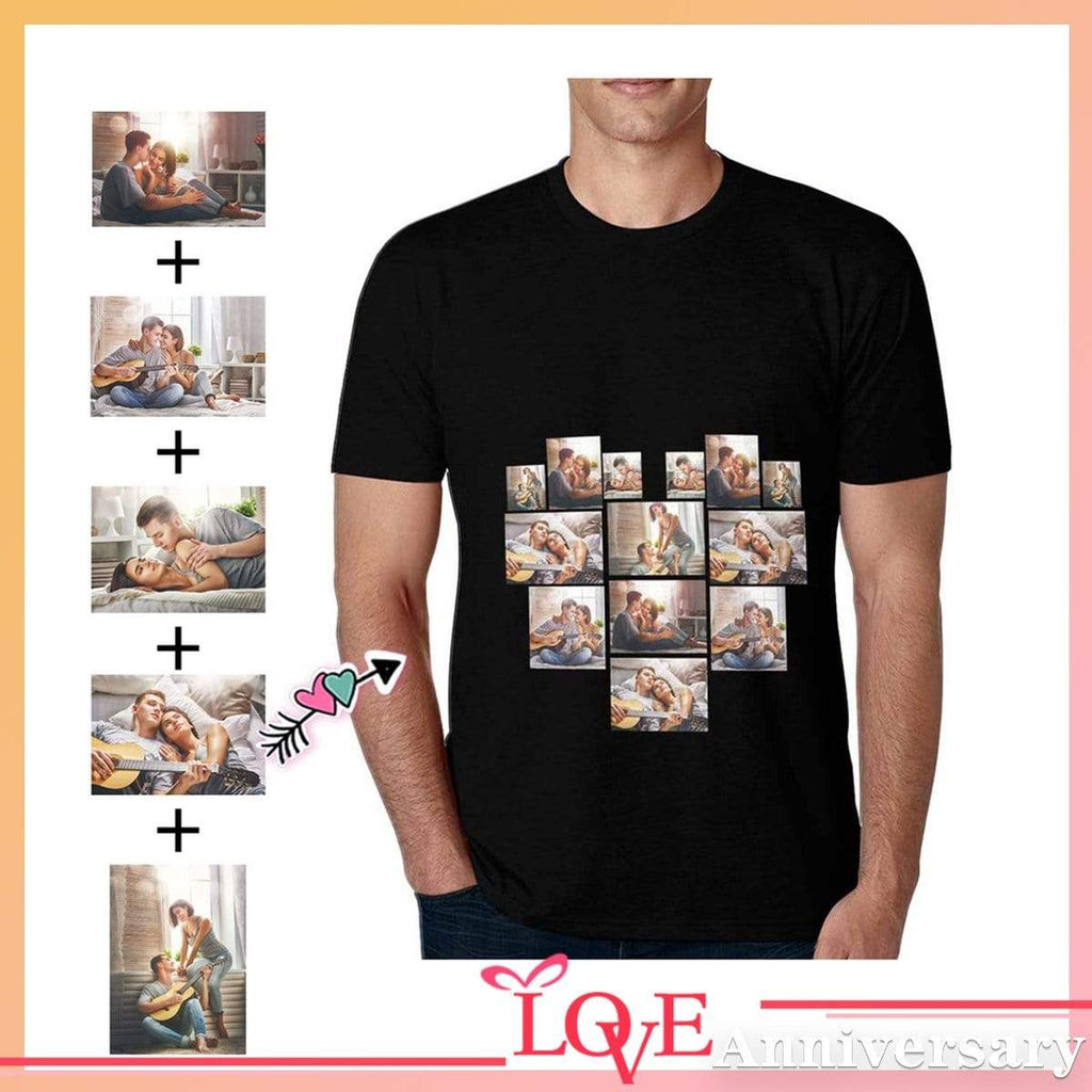 Custom Photo Love Stitching Couple Men's All Over Print T-shirt