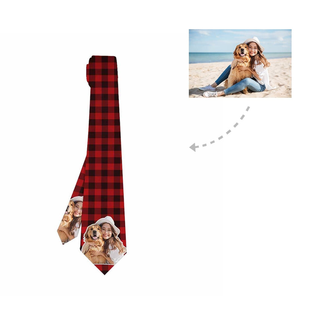 Custom Pet Lover Scottish Tartan Classic Necktie