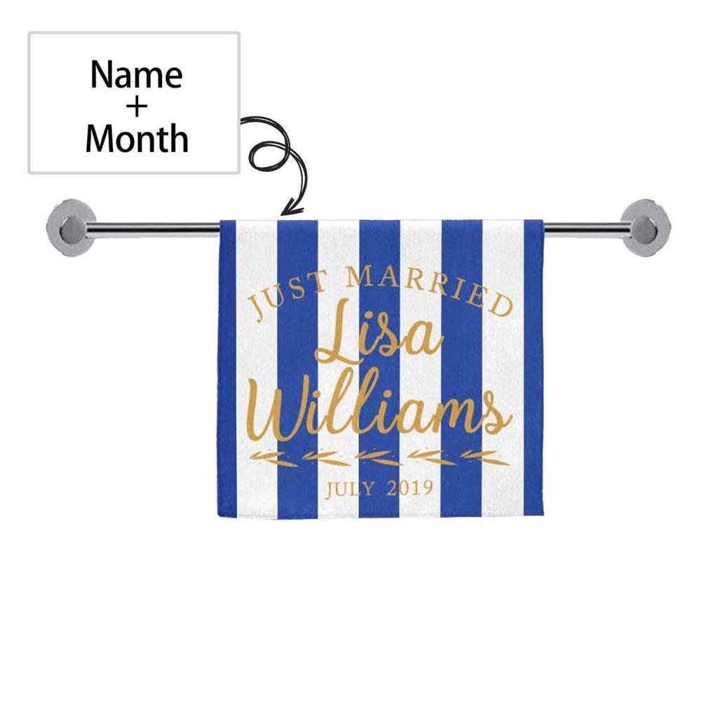 Custom Name Text Vertical Stripes Towel