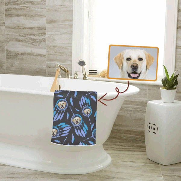 Custom Pet Face Fan Bath Towel