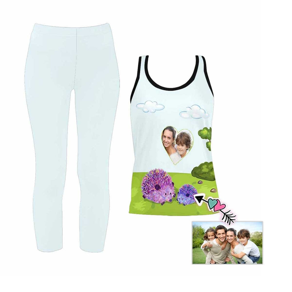 Custom Photo Hedgehog Women's Yoga Racerback Tank&Leggings Set