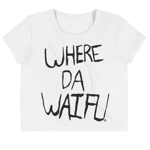 WHERE DA WAIFU Women's White Crop Top