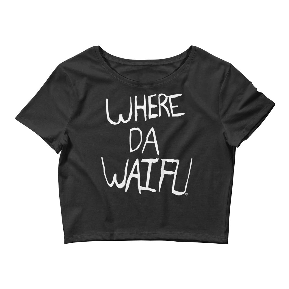 WHERE DA WAIFU Women's Black Crop top