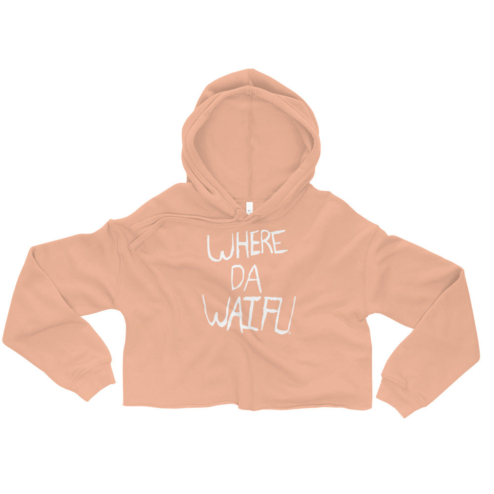 WHERE DA WAIFU Signature Crop Hoodie