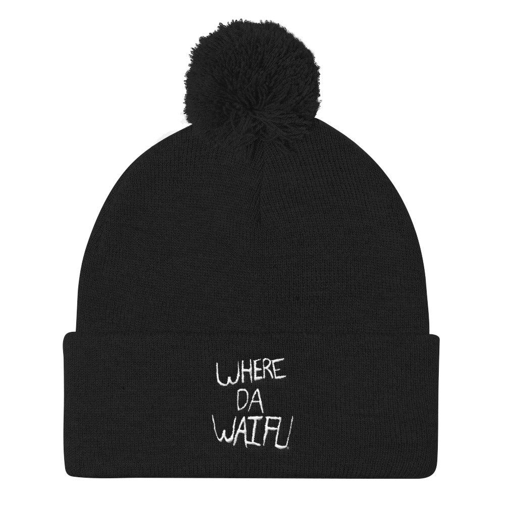 WHERE DA WAIFU Signature Pom Pom Beanie