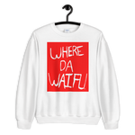 WHERE DA WAIFU BLOCC BOI SWEATSHIRT, RED