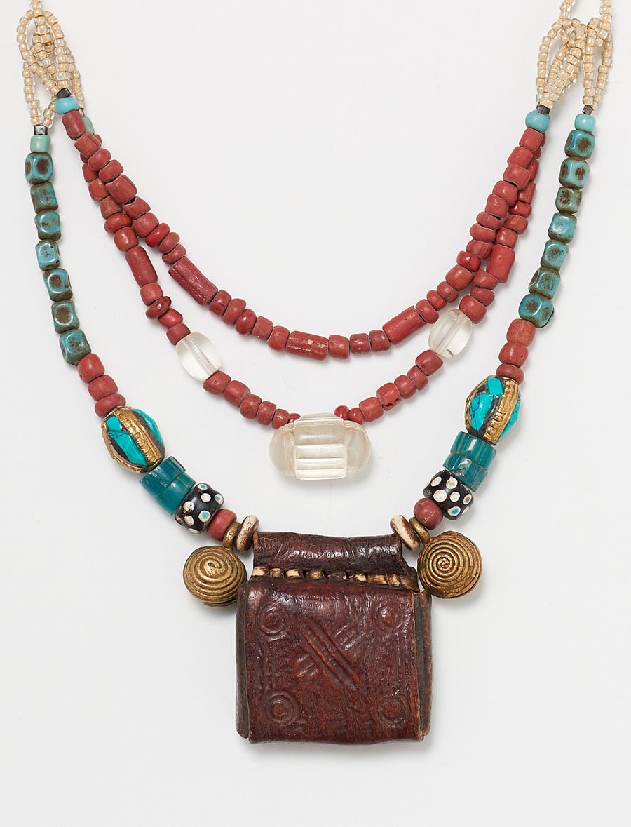 Red Double Pouch Necklace