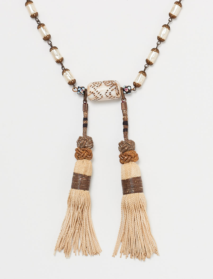 White Tassel Long Necklace