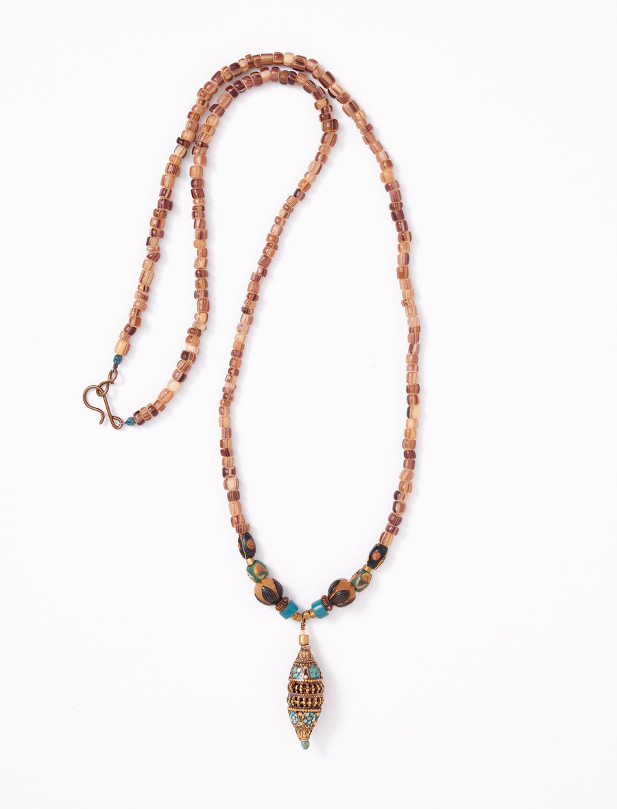 Turquoise brass long necklace