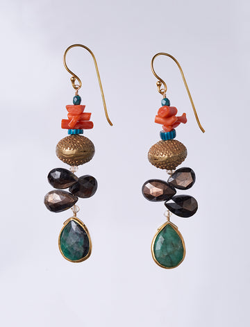 Emerald Sapphire Coral Earrings