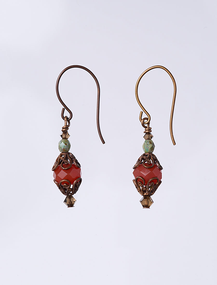 Czech Orange Earrings