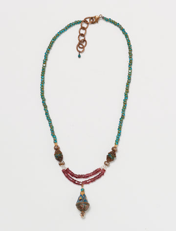Enamel Garnet Necklace