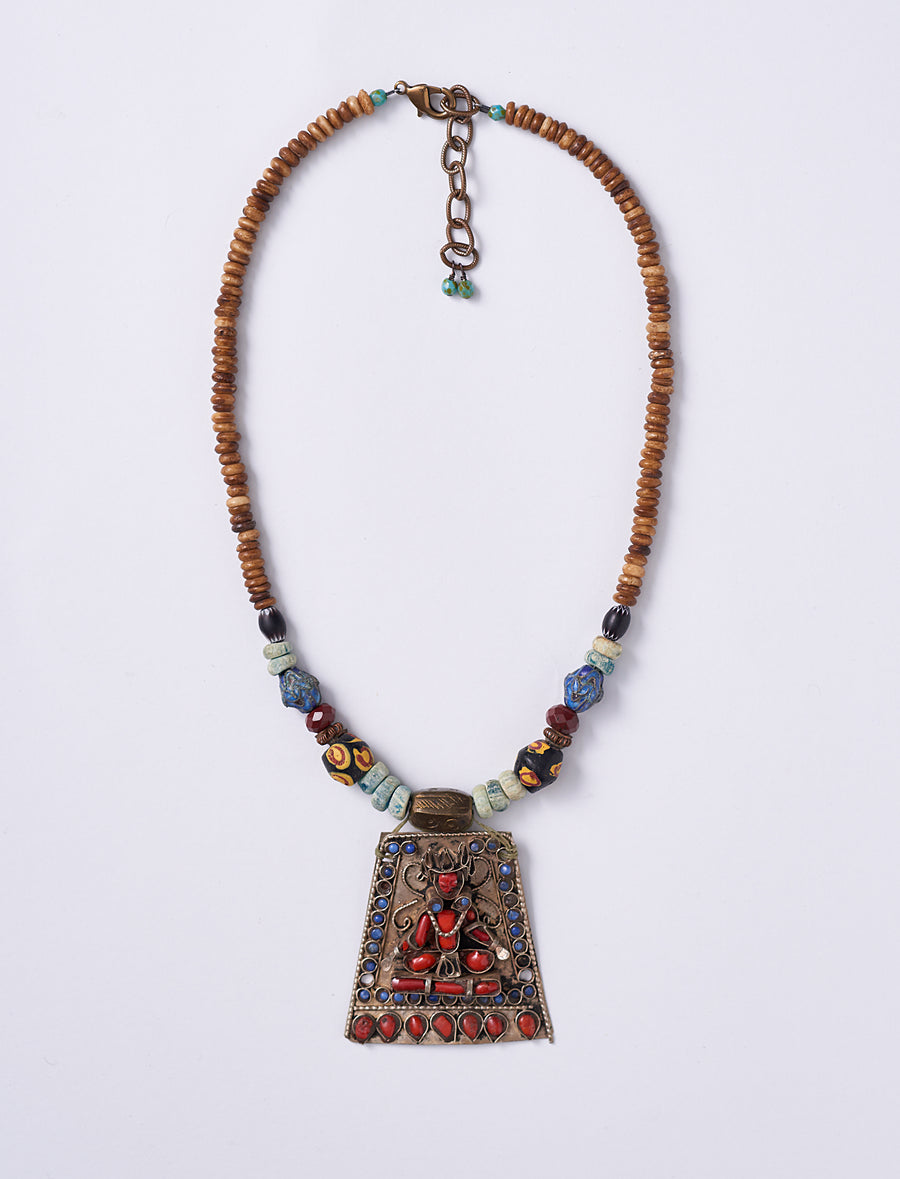 Lapis Coral Man Necklace
