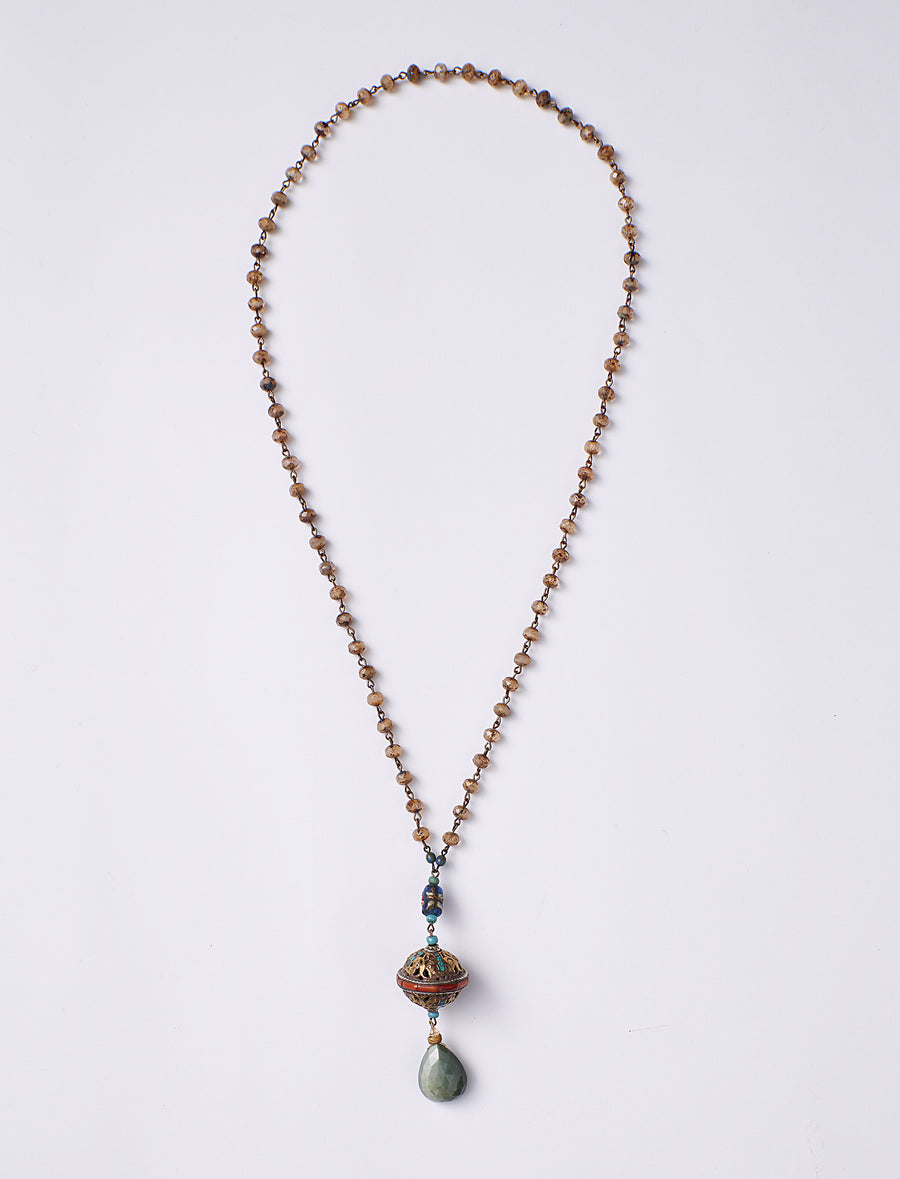 Cats Eye Drop Long Necklace