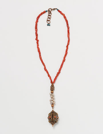 Nepal Pearl Coral Necklace