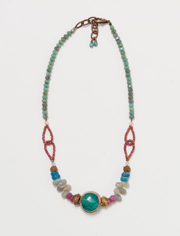 Turquoise Short Ruby Necklace