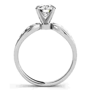 14kt gold White Engagement Rings/Bypass 1/8 ct tw