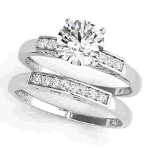 Load image into Gallery viewer, 14kt gold White Engagement Rings/Single Row/Channel Set 1/20 ct tw
