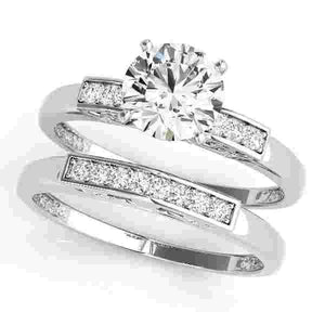 14kt gold White Engagement Rings/Single Row/Channel Set 1/20 ct tw