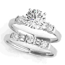 Load image into Gallery viewer, 14kt gold White Engagement Rings/Fancy Shape/Baguette 1/5 ct tw