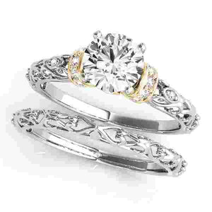 14kt gold White New Styles,Engagement Rings/Vintage,Engagement Rings/Cluster Sides 1/8 ct tw
