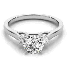 Load image into Gallery viewer, 14kt gold White Engagement Rings/3 Stone/Princess 1/10 ct tw