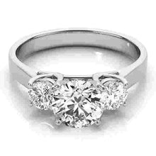 Load image into Gallery viewer, 14kt gold White Engagement Rings/3 Stone/Round 1/8 ct tw