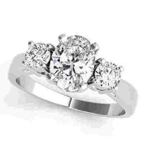 14kt gold White Engagement Rings/3 Stone/Round 1/8 ct tw