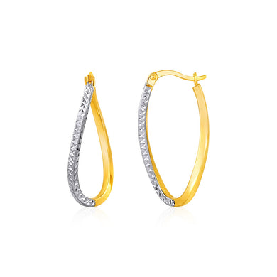 Two-Tone Textured Twisted Oval Hoop Earrings in 10k Yellow and White Gold