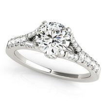Load image into Gallery viewer, 14k White Gold Split Shank Prong Set Diamond Engagement Ring (1 3/8 cttw)