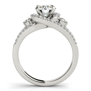 14k White Gold Split Shank Halo Bypass Diamond Engagement Ring (1 3/4 cttw)