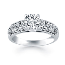 Load image into Gallery viewer, 14k White Gold Tapered Pave Diamond Wide Band Engagement Ring