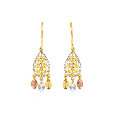 Textured Teardrop Chandelier Earrings in 14k Tri Color Gold