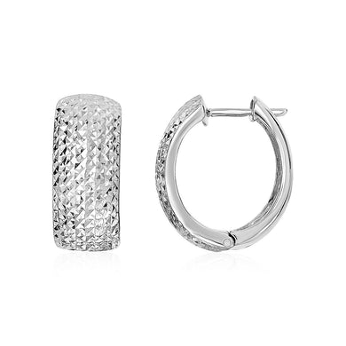 Textured Round Hinged Hoop Earrings in Sterling Silver