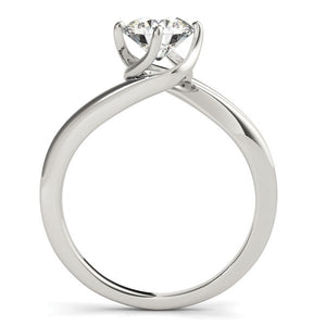 14k White Gold Solitaire Round Bypass Diamond Engagement Ring (1 cttw)
