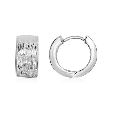 Wood Textured Hoop Earrings in Sterling Silver