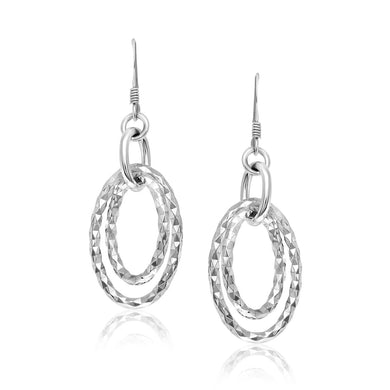 Sterling Silver Textured Dual Open Oval Style Dangling Earrings