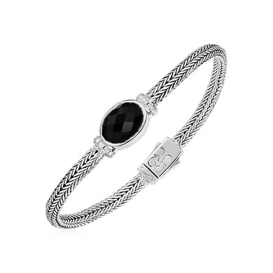 Woven Rope Bracelet with Black Onyx and White Sapphires in Sterling Silver