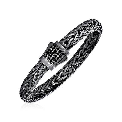 Wide Woven Bracelet with Black Sapphires and Black Finish in Sterling Silver